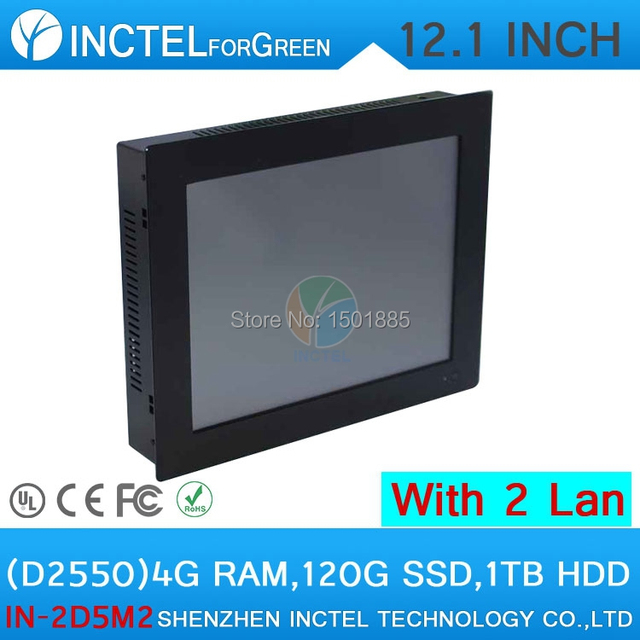 2mm Ultra Thin Embedded 12 inch LED Industrial Touchscreen PC with 5 Wires Gtouch Dual nics Intel D2550