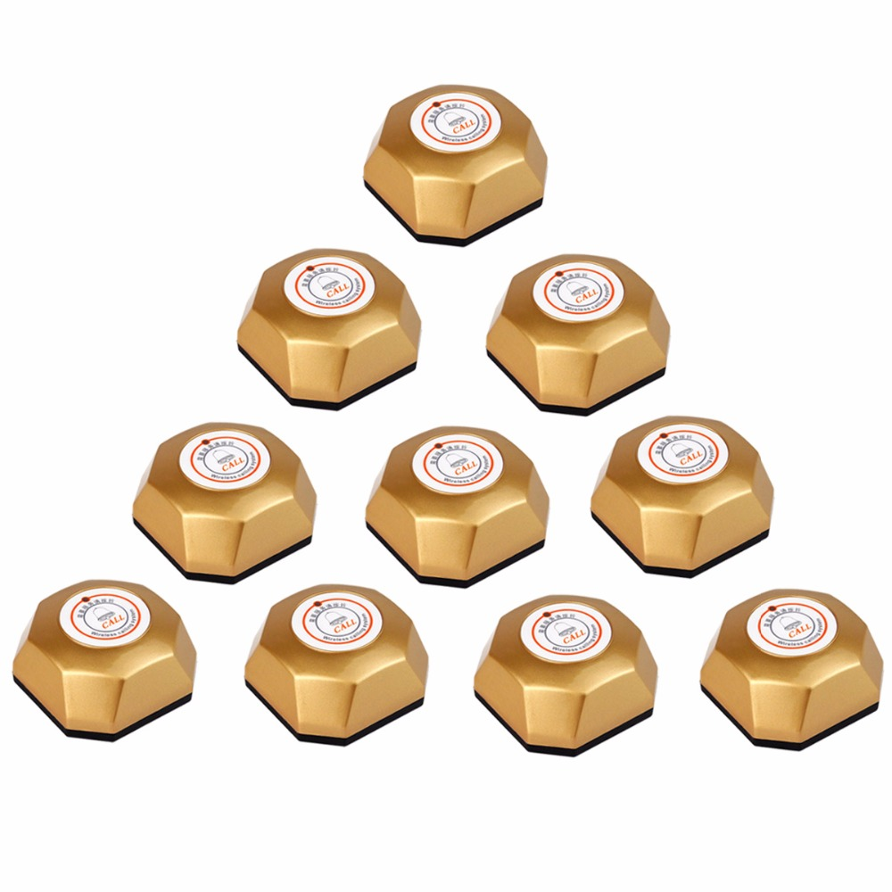 10pcs Gold Wireless Restaurant Office Service Call Transmitter Button Call Bell Pager Paging System with One Button 433MHz F3251 433mhz wireless restaurant cafe service calling paging system call pager with receiver host and call transmitter button f3260