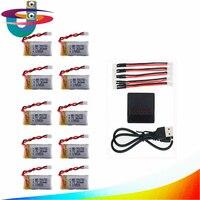 10Pcs 3 7V 260mAh 2 0 Lipo Battery With X5 Charger Set For Eachine E010 E011