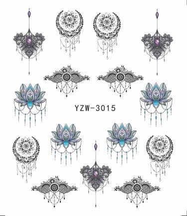 Ywk 1 PC Stiker Kuku Air Decals Butterfly Floral Hewan Hitam Putih Geometri Slider Manikur Kuku Seni Dekorasi