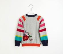 Catimini Бесплатная Доставка 2016 осень Catimini девушки напечатаны длинным рукавом трикотаж хлопок tee детская слоеного рукав свитера 6