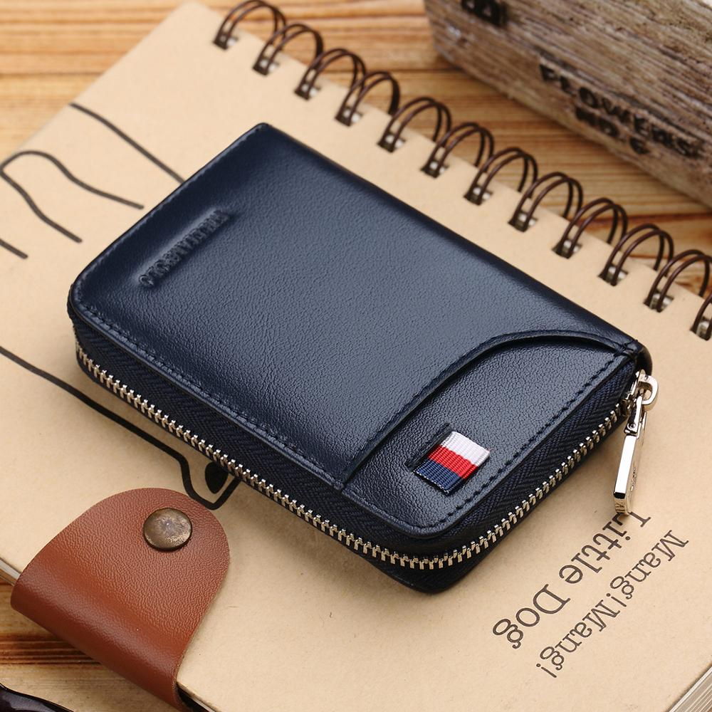 Premium Genuine Black Leather Credit Card Holder Zipped Coin Pouch Purse Wallet