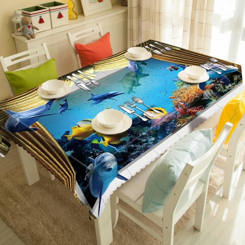 Индивидуальные круглый квадратный синее море Dophine с милым принтом 3D Декоративные Скатерти ужин Скатерти покрытие полиэфирной ткани