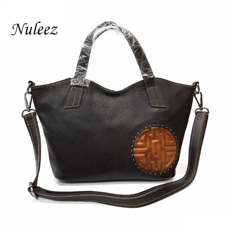 Nuleez Genuine Leather Bag Real Leather Handbags Women Shoulder Messenger Cross body Bags Chinese Moon cake