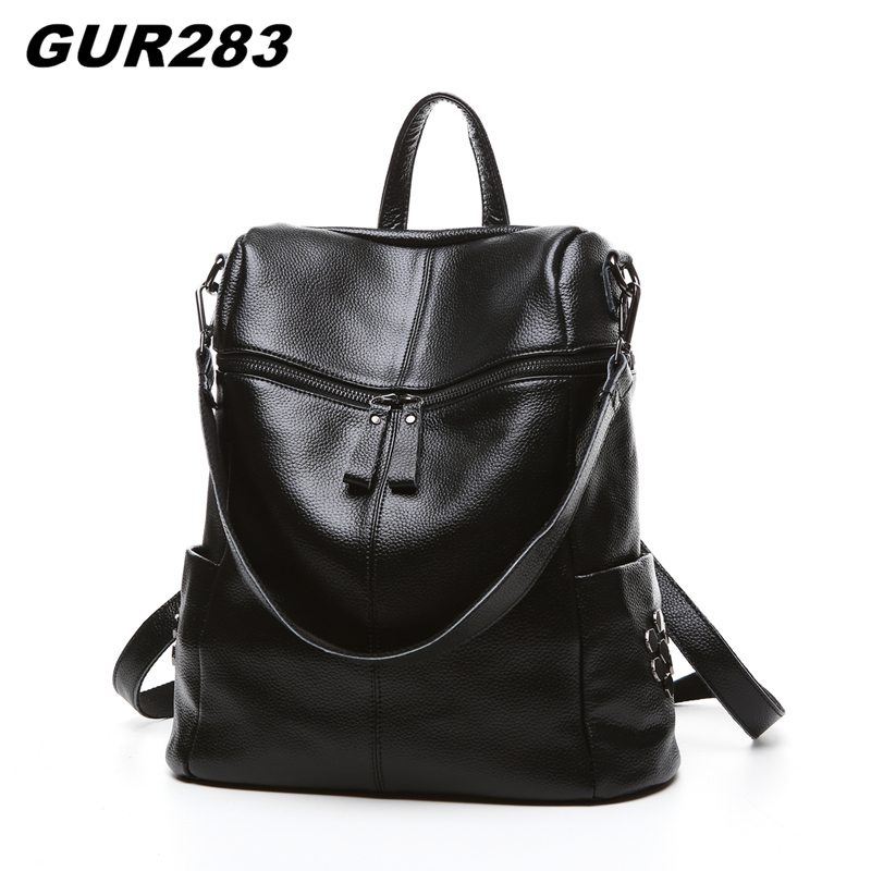 Fashion Genuine Leather Backpack Women School Bags For Girls Leisure Shoulder Bag Female High Quality Feminine Casual Daypacks annmouler women fashion backpack pu leather shoulder bag 7 colors casual daypack high quality solid color school bag for girls