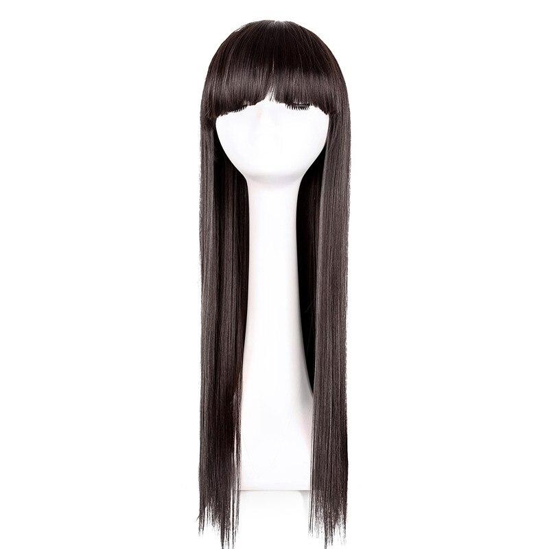 Фей-шоу синтетический Дамская термостойкие длинные прямые черные волосы парик костюм COS-play салон партия Для женщин без Каблука Синтетические чёлки волос парики