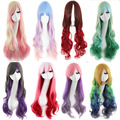 Long Curly Wavy Cosplay Wig Mixed Pink Blue Blonde Red Pink Rainbow Costume Party Synthetic Hair Cos Ombre Wigs Peruca Pelucas