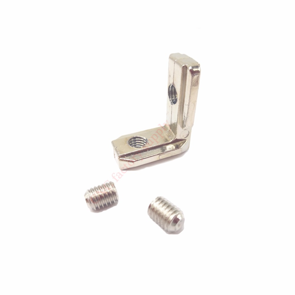 T slot L type 90 Degree 3030 aluminum connector bracket fastener EU standard 30/40/45 series aluminum profile parts 3d printer t slot l shape type aluminum profile accessories interior corner connector joint bracket for 20 30 40 45 profile