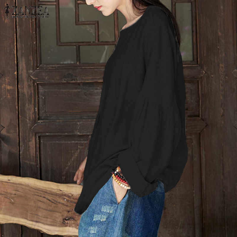 ZANZEA 2019 модная женская блузка с длинными рукавами Осенняя хлопковая льняная рубашка большого размера d черная рубашка с круглым вырезом Blusas Плюс Размер повседневные топы