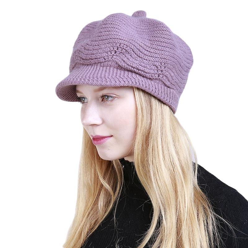 12PCS / LOT SINGYOU Winter New Solid Color Fashion Warm Lady Visors Hat Women Knitted Hat Casquette Sun Visor Caps