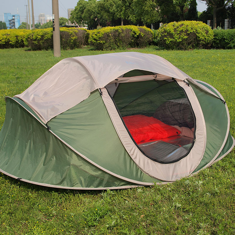 Four-person double pop-up boat type account outside the beach tents park camping tent quick installation automatic tent outdoor camping hiking automatic camping tent 4person double layer family tent sun shelter gazebo beach tent awning tourist tent