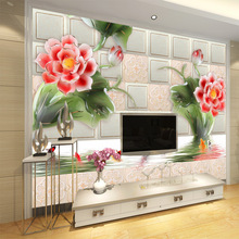 Fashion red floral large mural wallpaper 5d space emboss modern style waterproof wall household decor kitchen living room