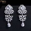 Elegant Design Silver Plated Cubic Zirconia Stone Bridal Wedding Party Long Chandelier Drop Earrings Jewelry For Brides E133