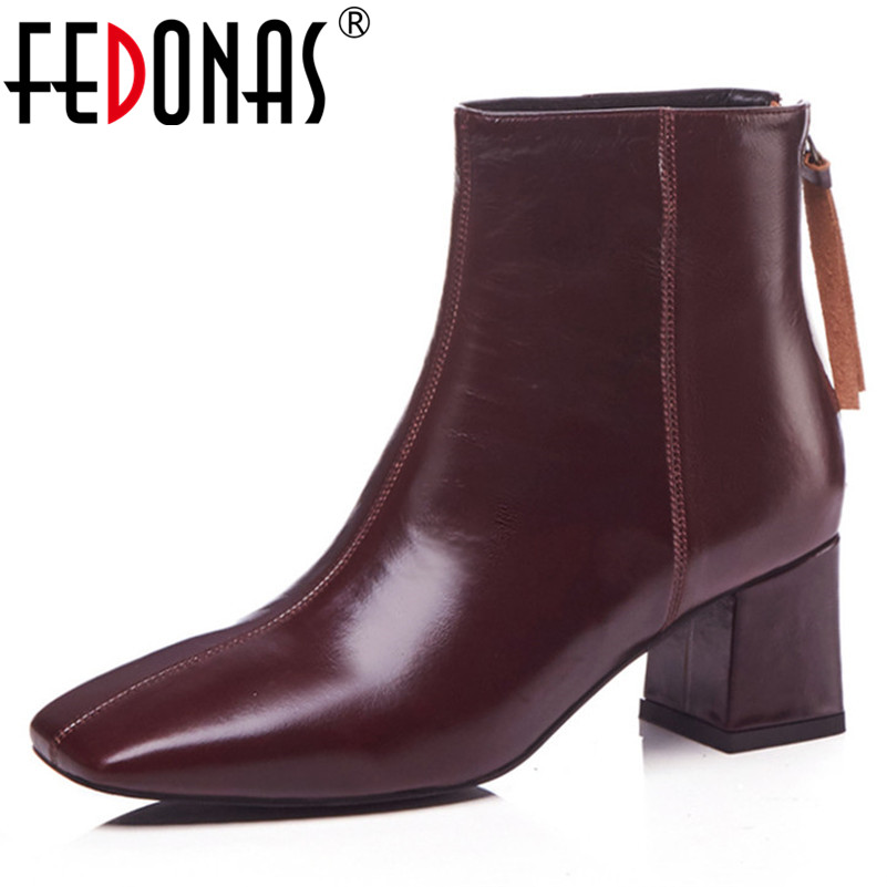 FEDONA Fashion Brand Women Ankle Boots Sexy Sqaure Toe High Heels Autumn Winter Matrin Shoes Woman Ladies 2019 New Basic Boots FEDONA Fashion Brand Women Ankle Boots Sexy Sqaure Toe High Heels Autumn Winter Matrin Shoes Woman Ladies 2019 New Basic Boots