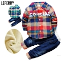 2015 New Toddler Boys Clothing Sets Velvet Shirts + Jeans Kids Winter Clothes Boys Baby Clothes Set Winter Suits For Boys