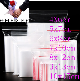 OMH 100 Pcs Plastic Ziplock Bag Jewelry Small Ziplock Bag Food Packaging Zip Lock Bags  BZ14