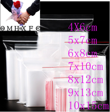 OMH 100 Pcs Plastic Ziplock Bag Jewelry Small Ziplock Bag Food Packaging Zip Lock Bags BZ14(China)
