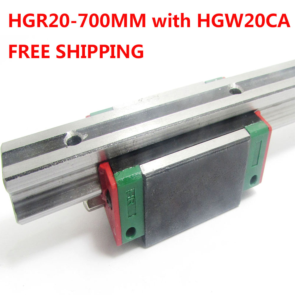 1PC free shipping HGR20 Linear Guide Width 20MM Length 700MM with 1PC HGW20CA Slider for cnc xyz axis large format printer spare parts wit color mutoh lecai locor xenons block slider qeh20ca linear guide slider 1pc