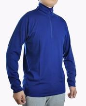 Mens 100% Merino Wool Long Sleeve T Shirt Base Layer Jersey Knit Lightweight 1/4 YKK Zip Flat Lock Seams