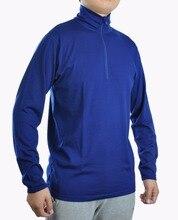 T shirt à manches longues pour homme 100%, Jersey tricoté à même la peau 1/4 YKK, coutures à verrouillage plat, en laine mérinos