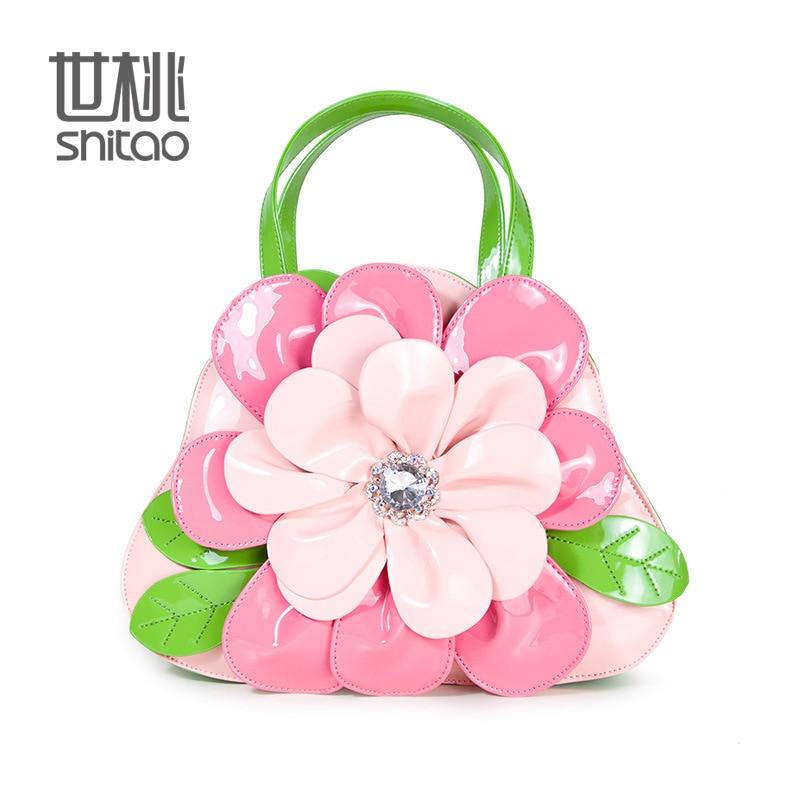016 Handbags pink 3D flowers style Women Bags tote Handbags New Popular flower pattern PU leather Women handbags shoulder bag