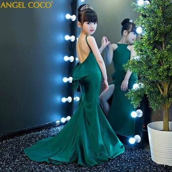 d5f1fdc37 Moda Verde halter chica niño modelos catwalk Delgado sirena vestido de noche  T escenario Moda show