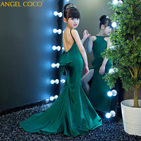 fashion green halter girl child models catwalk Slim Mermaid evening dress T stage fashion show clothes Carnival Costume For Kids