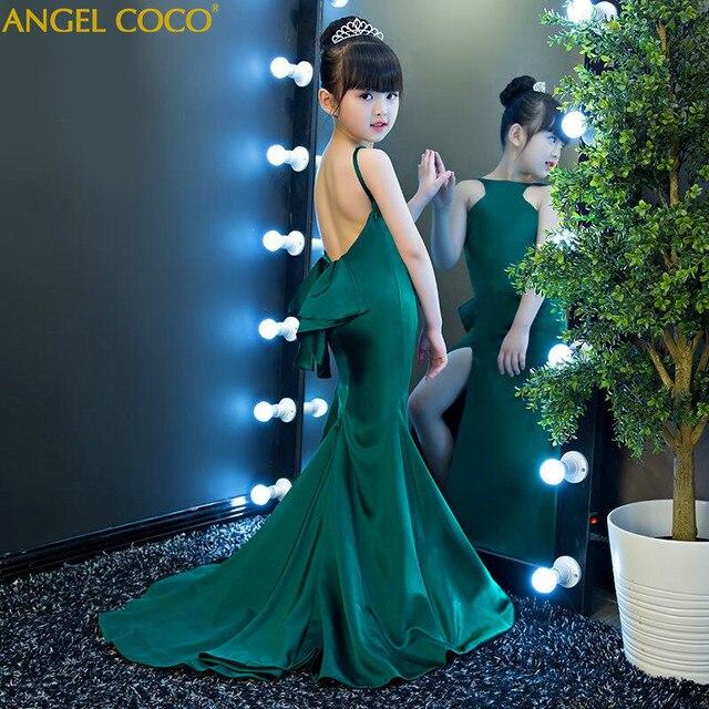 Fashion Green Halter Girl Child Models Catwalk Slim Mermaid Evening