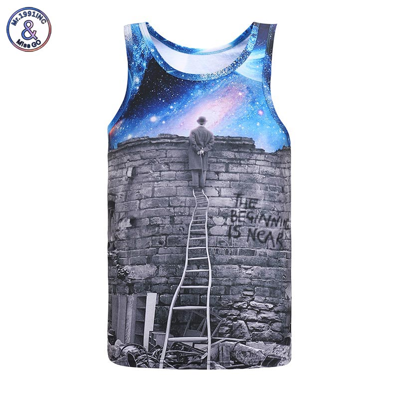 2017 Mr.1991INC New Europe and American Men/boy Tank tops 3d fashion print A person watching meteor shower Space galaxy vest