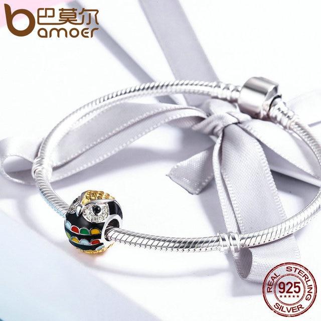 BAMOER genuino Plata de Ley 925 y Esmalte de oro Animal búho granos del encanto fit mujeres encanto pulsera y pulseras regalo joyería SCC468