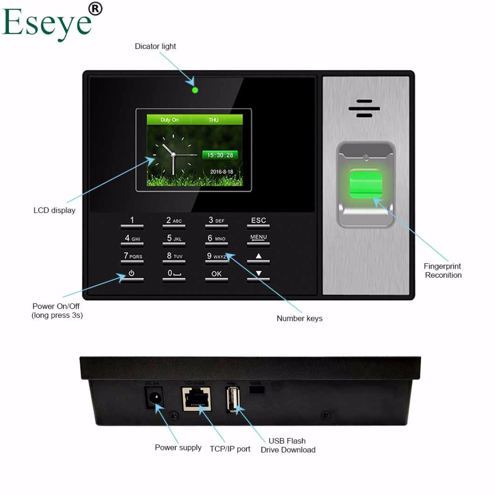 Biometric Fingerprint Time Attendance System TCP/IP Access Control Time  Clock Fingerprint Reader Employee Attendance System USB