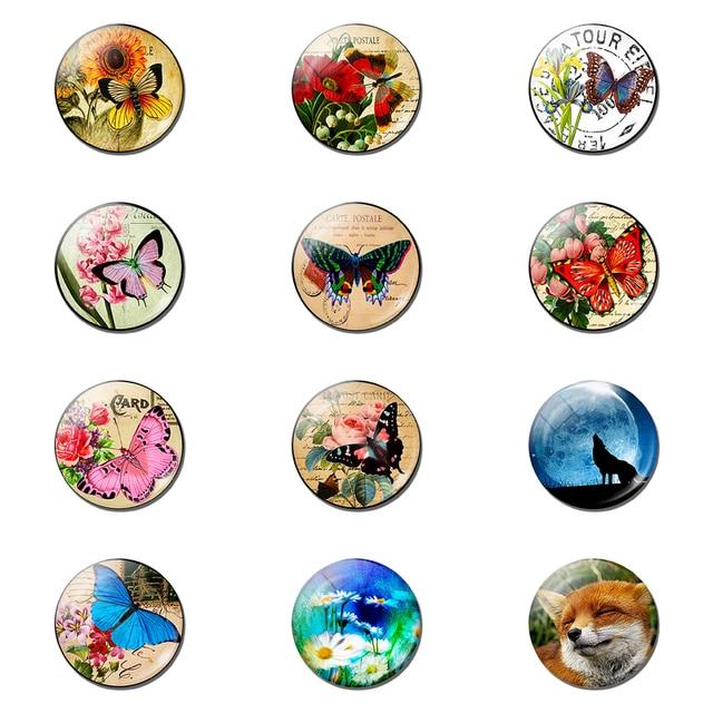 12pcs Animal and Fllower 25MM Fridge Magnet Glass Note Holder Decoration Refrigerator Magnetic Sticker Home Decor Cute Kids Gift 2