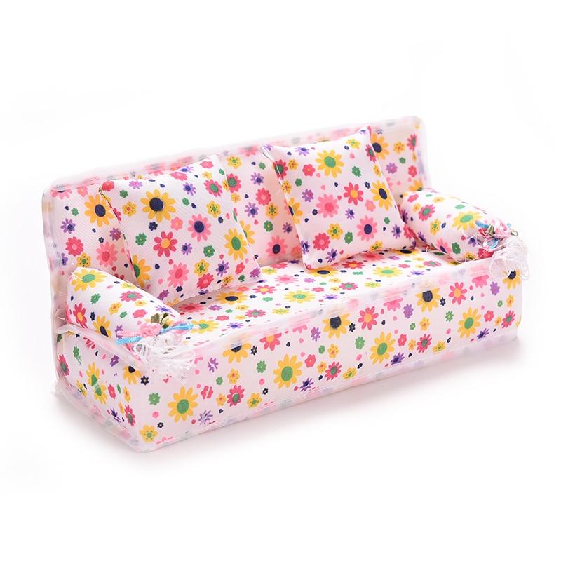 2016 mini dollhouse furniture flower cloth sofa couch with 2 full cushions for barbie doll house barbie dollhouse furniture cheap
