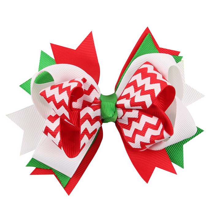100pcs Christmas Explosion Stacked Boutique Girl Hair Bow Clip  Free Shipping