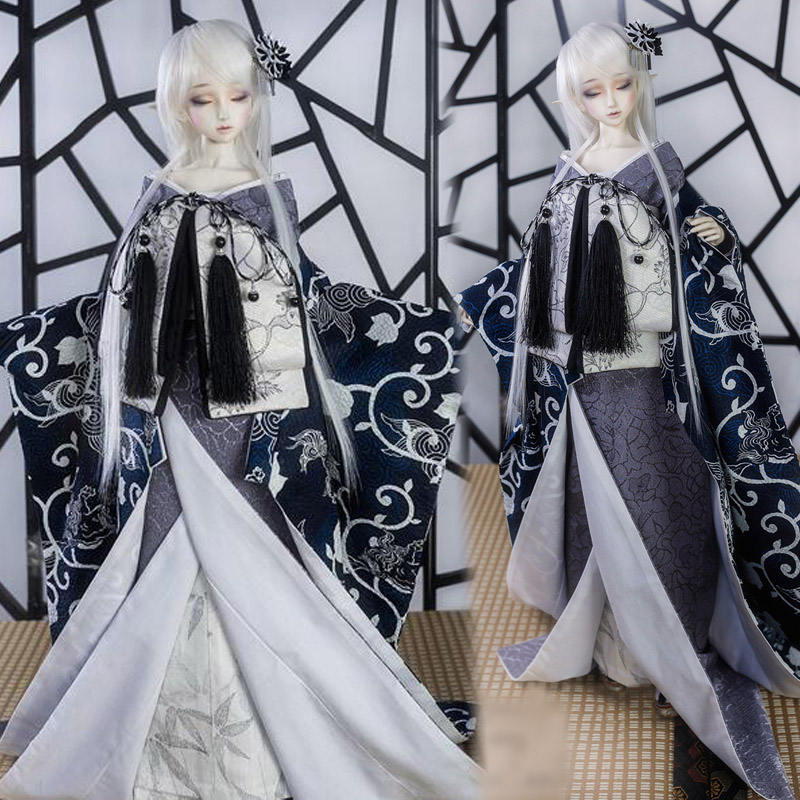 Japanese Style gentle wind Dark blue Kimono 1/3 1/4 1/6 Uncle Boy Girl SD MSD YOSD BJD Doll Clothes handsome grey woolen coat belt for bjd 1 3 sd10 sd13 sd17 uncle ssdf sd luts dod dz as doll clothes cmb107