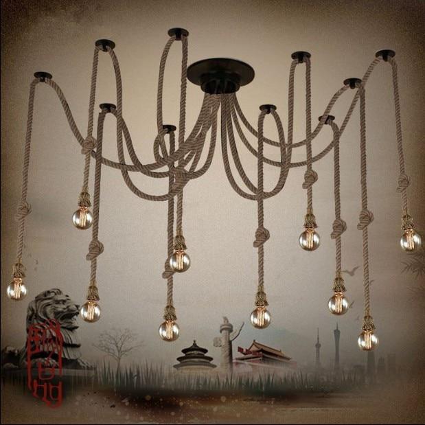 Hemp Rope Chandelier Antique Classic Adjustable Diy Ceiling Spider Lamp Light Retro Edison Bulb Pedant Lamp for home ...