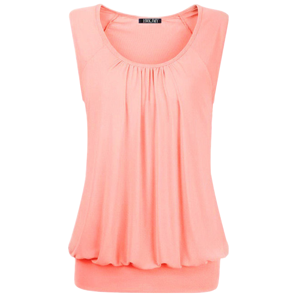 Women Casual T-shirt Wide Straps Tops Elastic Waist Crew Neck Sleeveless Simple Pullover Cute L-3XL