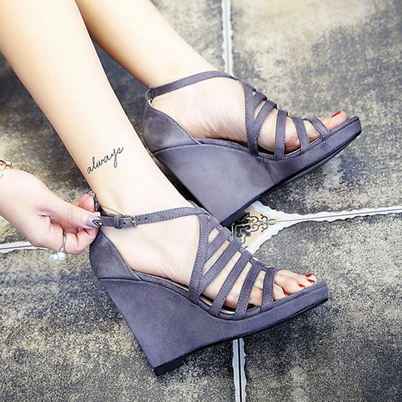 Brand New Suede Leather Women Sandals Strap Peep Toe High Heels Wedges Shoes Woman Big Size Gladiator Slippers Women luxury