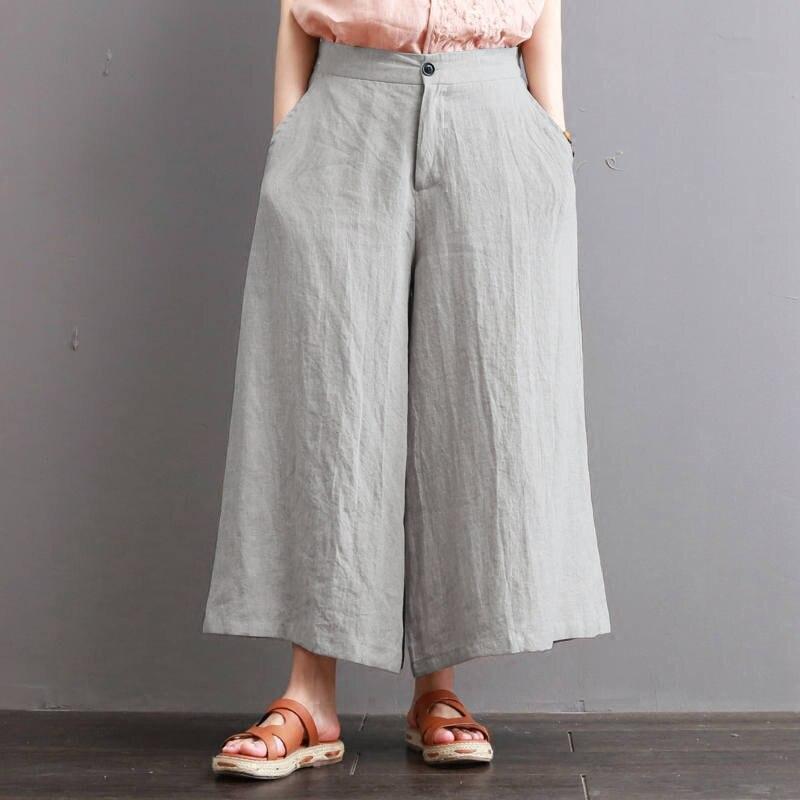 2018 Summer ZANZEA Women   Wide     Leg     Pants   Elastic High Waist Trousers Casual Loose Pockets Pantalon Femme Streetwear Plus Size