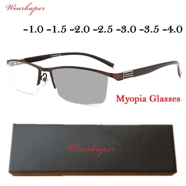 f3b8dcb5513 WEARKAPER Classic photochromic glasses myopia glasses Nearsighted Glasses  Myopia Eyeglasses Frame Transition Lenses -1.0 -1.5 -2