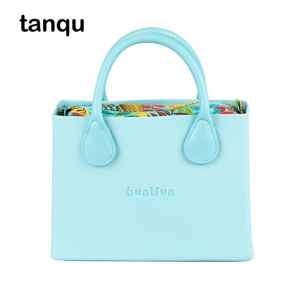 tanqu huntfun square Bag with floral canvas Insert colorful Handles waterproof O bag style women EVA Obag недорого