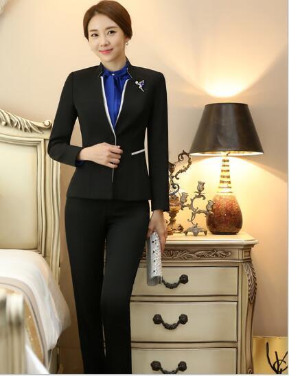Black Lx9027 Las Trabajo Señoras Mujeres Elegante Uniforme Oficina Negocios B294 Pantalones De Estilos Formal Trajes O6X0O