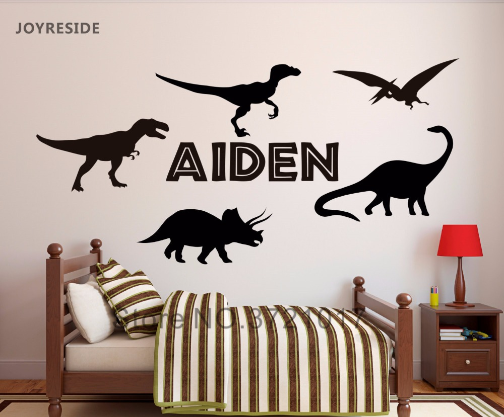 JOYRESIDE Custom Personalized Name Dinosaur Wall Decal Vinyl Sticker For Kid Boy Bedroom Removable Decoration Nursery Baby XY013