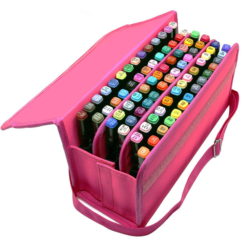 80 Holders Portable School Pencil Bag Oxford Large Capacity Pencilcase For Art Marker Sketch Drawing Pencil Case Art Supplies marker pen case holder 48 80 120 160 slot zipper art pencil bag cosmetic bag drawing pencil box large capacity storage organizer