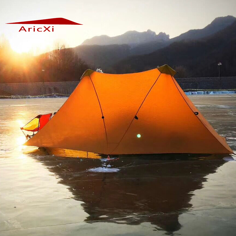 Aricxi Camping Tent Ultralight 2Person Outdoor 20D Nylon Both Sides Silicon Coating Rodless A tower Large Tent 1240g camping tent ultralight 6 8 person outdoor 20d nylon both sides silicon coating rodless large space tent triangle 4 season