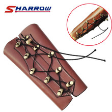 1 Piece Brown Arm Guard Archery Safety Protection Cow Leather Material For Hunting Shooting Sports Gear