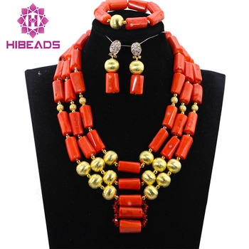 Unique 3 layers Coral Beads Jewelry sets Nigerian African Wedding Bridal/Women Beads Necklace Jewelry Set Free Shipping CJ870