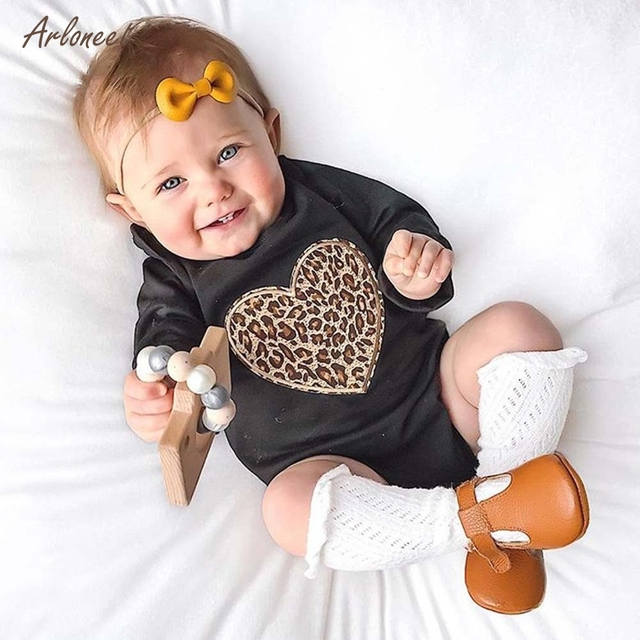 5022f2811 ARLONEET Baby Toddler Girls Long Sleeved Romper Leopard Print Jumpsuit  Clothes F27