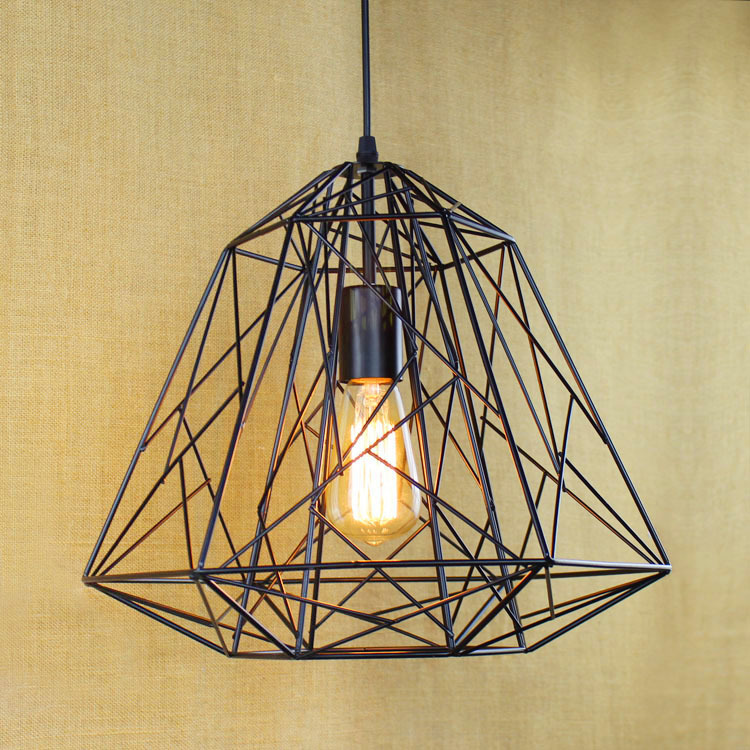 Фотография The Nordic Rural Contracted Industrial Personality Art Chandelier With Iron Net Chimney Restaurant Cage Lamp Free Shipping