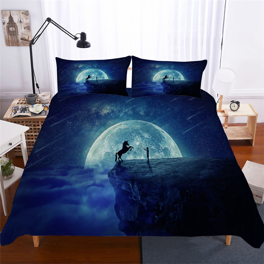 Bedding Set 3D Printed Duvet Cover Bed Set Unicorn Home Textiles for Adults Lifelike Bedclothes with Pillowcase #DJS13-in Bedding Sets from Home & Garden
